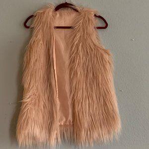 Pink fur blush pink vest size small NEVER worn